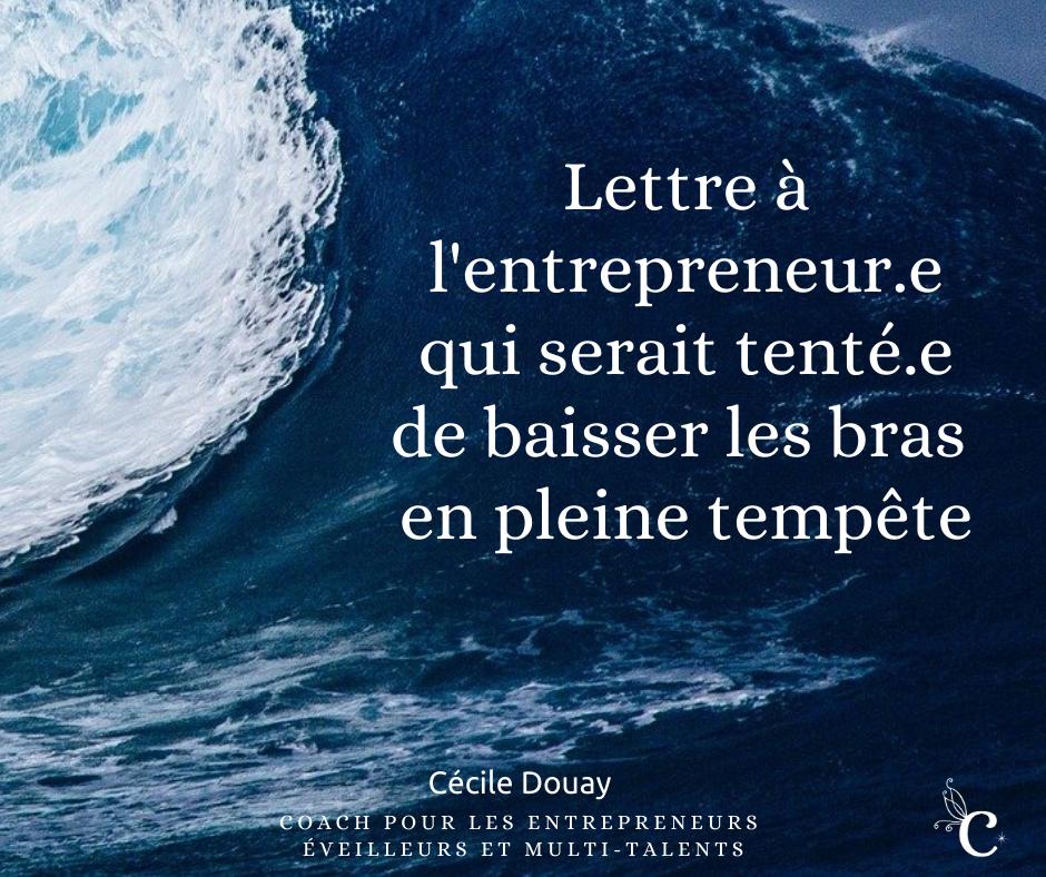 Lettre à l'entrepreneur.e qui serait tenté.e de baisser les bras en pleine tempête …